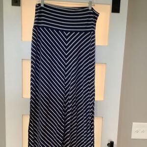 Athleta Blue and White Cheveron Maxi Skirt